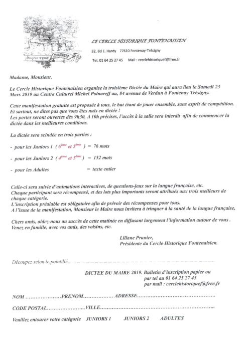 Inscription Dictée du Maire 2019