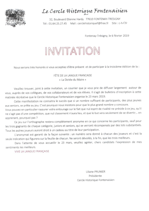 Invitation Dictée du Maire 2019